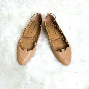 Lucky Brand Aviee Flats Nude Leather Shoes Strappy